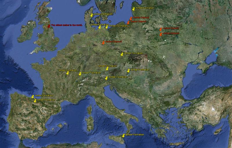 Залежи янтаря в киевской области карта