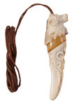 Кулон-амулет из рога оленя и янтаря «Клык волка»