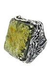 Кольцо с черненым серебром и янтарем «Дары веков»