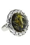 Серебряное кольцо с янтарным кабошоном «Саманта»