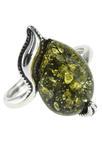 Серебряное кольцо с камнем янтаря «Роса на листве»