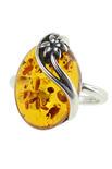 Серебряное кольцо с янтарем «Дайна»