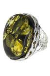 Кольцо с камнем янтаря в серебряной оправе «Аида»