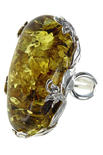 Серебряное кольцо с янтарем «Емира»