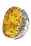 Серебряное кольцо с янтарем «Летнее настроение»