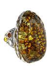 Серебряное кольцо с янтарем «Прима»