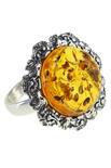 Кольцо с черненым серебром и камнем янтаря «Летний вечер»