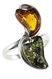Серебряное кольцо с янтарными вставками «Леона»