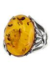 Янтарное кольцо с серебром «Оливия»