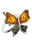 Серебряное кольцо с янтарем «Бабочка»
