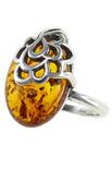 Янтарное кольцо с серебром «Камелия»