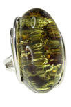 Серебряное кольцо с камнем янтаря «Ирена»