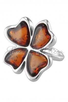 Кольцо «Четырехлистный клевер» - Изделия из янтаря купить онлайн